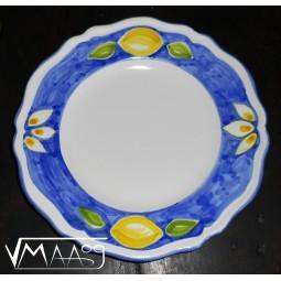 Flat ceramic plate with lemons