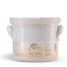 Salted anchovies in clay pots