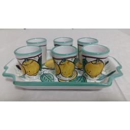 Ceramic tray + 6 ceramic cups